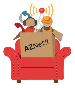 "Graphic of two communications professionals and a communications tower and telephone coming out of a box labeled ""AZNET II"" which is placed on a red armchair"