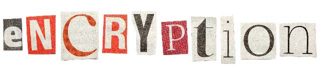 "The word ""encryption"" is spelled out with letters cut from newspaper print"
